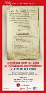 Conferenza sul quotidiano di vita e di lavoro nel patrimonio dei marchesi d'Arcais alla fine del XVIII secolo